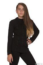Süßer Mädchen Pullover Pulli Strickpullover Strick Sweater Schwarz Gr. 104