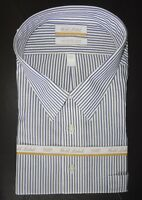 Roundtree Yorke Gold Label Dress Shirt * Blue Gray Striped 18.5 - 36/37 TALL NWT