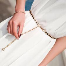 Women Metal Chain Waistband Pearl Beads Slim Waist Dress Belt Accessories Party