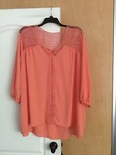 NEW Peach Color Crochet Upper Back/shoulder/front Women Tunic Top +18/20W