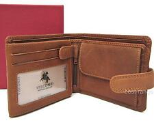 Mens Large Wallet Real Leather Oak Brown Visconti New in Gift Box Style DR30
