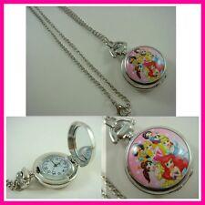 Princess Belle Aurora Ariel Child Pocket Watch Necklace FREE SHIPPING + GIFT