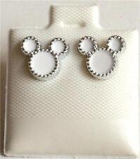 White Enamel Mickey Mouse Ears Disney Earrings Disney Pierced Post USA Seller
