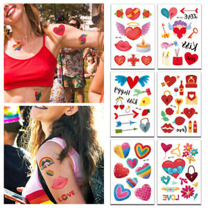 Valentine's Love Heart Temporary Tattoo Sticker Couples Removable Festival Gift