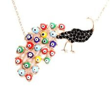 925k Sterling Silver Women's Peacock Evil Eye Necklace -US Seller - SK041