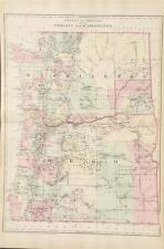 Antique County Map Oregon and Washington - Mitchell's Atlas of the World c. 1881