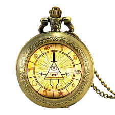 Bill Cipher Wheel Bronze Pocket Watch Necklace Gravity Falls Locket Cypher TV