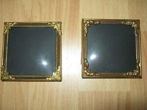 2 antike Bilderrahmen.Bronze,gewölbtes Glas,zum stellen..Quadrat.