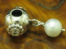 925 Sterling Silber Pandora Bead mit Zirkonia Besatz & Akoya Perle / Echtsilber