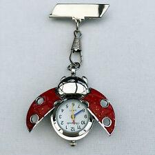 Hermoso Rojo Ladybird Enfermeras Esteticista Fob Watch Broche Pin