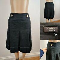 PRINCIPLES Petite Black Short Skirt A-line Linen & Cotton Size 8 Pockets Immacul