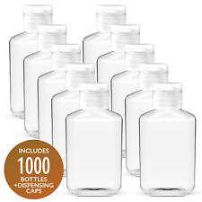 1000 Pack x 2 oz (60 ml) Empty Clear PET Plastic Bottles With Flip Top Caps