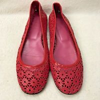 J Crew Women's Flats slip-ons 7 Laser Cut Pattern Pink/Red Leather Made in Italy