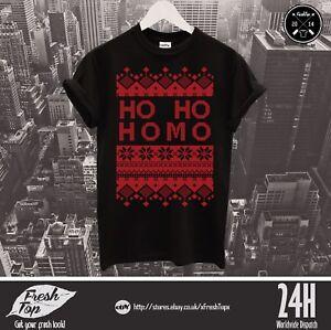 Ho Ho Homo T Shirt LGBTQ+ Gay Pride Parade Christmas Ugly Jumper Pattern Xmas