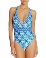 La Blanca Crystal True Blue Print Strappy Maillot One Piece Swimsuit LB7AW22 14