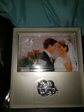 """New In Box 25th Anniversary Gift Frame Holds 4"""" X 6"""" Photo Silver Color"""