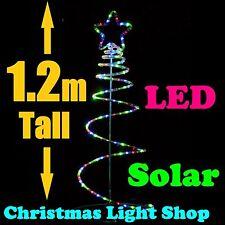 1.2m Multicolour Ropelight SOLAR LED Spiral Christmas Tree Outdoor Garden Light