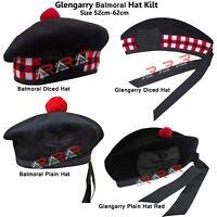 Men's Scottish Glengarry Kilt Hats Diced & Plain 100% Wool Piper 52-62 AAR New