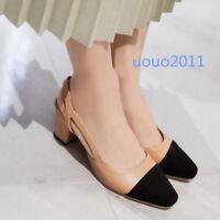 Womens Block Heel Elegant Slingbacks Square Toe OL Pumps Slip On Celebrity Shoes