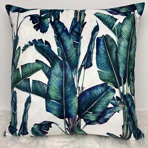 "Tropical Jungle Botanical Cushion Cover Velvet 16""x16"" Palm Leaves"