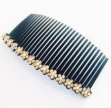 USA Hair Comb Rhinestone Crystal Hairpin French Twist Party Dancer Flower Brown