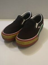Vans Women's 5 Platform Rainbow Glitter Slip One Shoes Black Stacked Sneakers