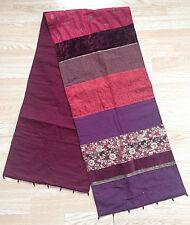 Beautiful Plum/Maroon Boho Oriental Table Runner Embroidered Sequin Bead Velvet
