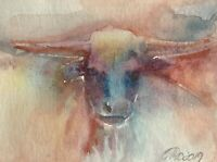 ACEO Bull painting Original Cow Animals fine art Originals Listed By artist USA