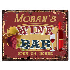 PLWB0362 MORAN'S WINE BAR Rustic Tin Chic Sign Home Store Decor Gift Ideas