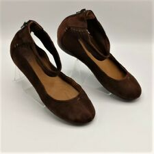 Indigo By Clark's  Women Shoes Brown Suede Ankle Strap Ballet Flats sx 9.5