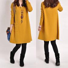 Fall Winter Casual Women Sweater Dress Short Loose Top Long Sleeve Plus Size