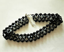 Pearl & bicone Beaded CHOKER necklace VINTAGE style BLACK glass 13""