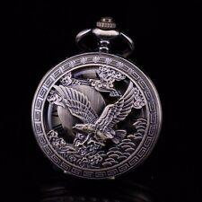 Half Hunter Brass Eagle Skeleton Roman Numeral Hand Wind Pocket Watch For Men