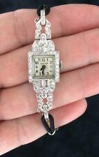 Hamilton Platinum & Diamond  Ladies Art Deco Watch 58 diamonds