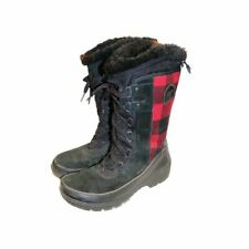 Sorel Tivoli III Tall Red Plaid Winter Snow Boots - Women's size 8