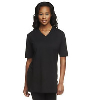 Denim & Co. Essentials Oversized V-Neck Top w/ Princess Seams - Black - XLarge