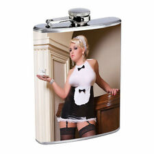 Waitress Pin Up Girls D4 Flask 8oz Stainless Steel Hip Drinking Whiskey Costume