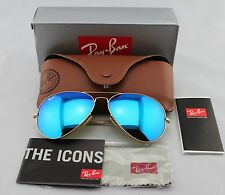 Ray-Ban AVIATOR Gold/Blue Flash Mirror Lens RB 3025 112/17 58mm Medium Size