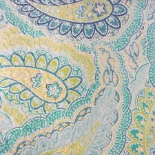 TAHARI Paisley 3PC FULL QUEEN QUILT SET Teal Blue Aqua Green White Cotton NEW