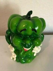 Anthropomorphic Vegetable Mr. Green Pepper Man Plastic Bank
