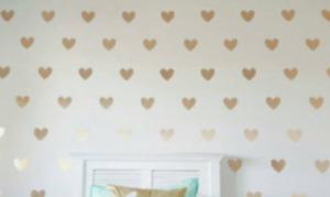 30 gold colour Hearts Love vinyl wall art sticker room decor decals wallart