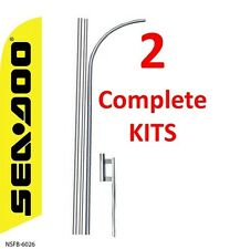 2 (two) SEADOO 15' SWOOPER #3 FEATHER FLAGS KIT with poles+spikes