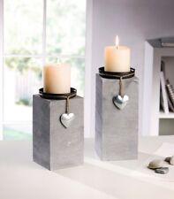 2er Set Dekosäule Kerzenhalter Silber Herz Kerzenständer Holz Grau Shabby Kerzen