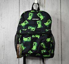 "New listing Kids Minecraft Backpack 16"" Creeper School Book Bag Bottle Pocket Free Shipping"