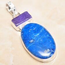 "Sterling Silver 2.5"" Pendant #P07168 Handmade Pyrite Lapis Lazuli Jasper 925"