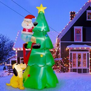 6 FT Inflatable Lighted Christmas Tree w/Cute Santa Claus And Dog Outdoor Decor