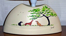 More details for 6278 dianne heap ceramic table lamp hand painted dachshund sausage dog weiner