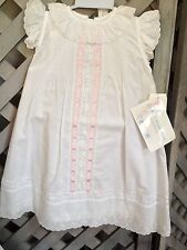 White EYELET BABY DRESS Classic BEACH 3pc Slip Bonnet 6mo House of Hatten NEW