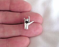 Sterling Silver 17mm Hand sign Love small pendant