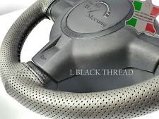 FOR PRAGA ND/SND -GREY PERF LEATHER STEERING WHEEL COVER DIFF STITCH